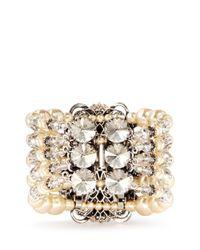Miriam Haskell - Metallic Crystal Pearl Cuff - Lyst