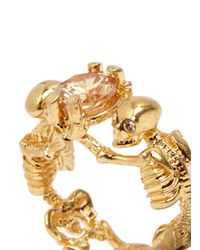 Alexander McQueen | Metallic Crystal Embellished Twin Skeletons Ring | Lyst