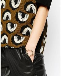 ASOS | Metallic Limited Edition Open Circle Hinged Cuff Bracelet | Lyst