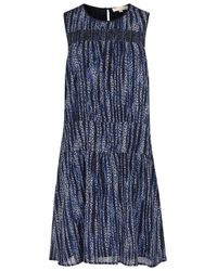 MICHAEL Michael Kors | Blue Printed Georgette Dress | Lyst