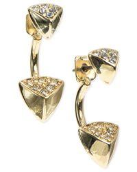 Anne Klein - Metallic Gold-tone Earring Jacket Pyramid Earrings - Lyst