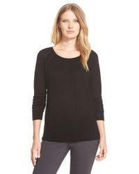 Nordstrom Collection | Black Scoop Neck Silk & Cashmere Pullover | Lyst
