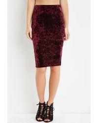 Forever 21 - Purple Crushed Velvet Bodycon Skirt - Lyst