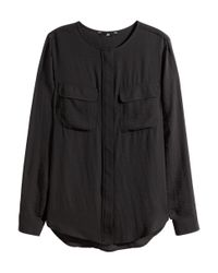 H&M | Black Airy Blouse | Lyst