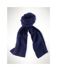 Polo Ralph Lauren | Blue Classic Cabled Cashmere Scarf | Lyst