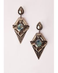Missguided | Blue Marble Stone Effect Earrings | Lyst