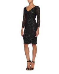 JS Collections | Black All Over Sequin V Neck Dress | Lyst