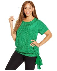 Michael Kors | Green Michael Plus Size Short-sleeve Printed Side-tie Top | Lyst