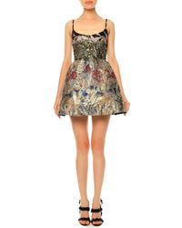 Valentino - Metallic Landscape-print Brocade Fit-and-flare Dress - Lyst