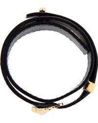 Versus - Black Leather Lions Head Strap Bracelet - Lyst
