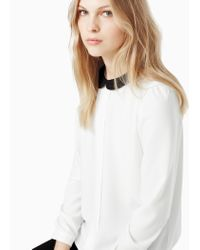 Mango | Black Contrast Collar Shirt | Lyst