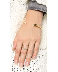 Jacquie Aiche - Metallic Crescent Ring - Gold/clear - Lyst