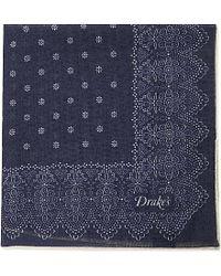 Drake's | Blue Wool Silk Pocket Square - For Men for Men | Lyst