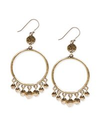 Lucky Brand | Metallic Goldtone Hammered Disc Drop Hoop Earrings | Lyst