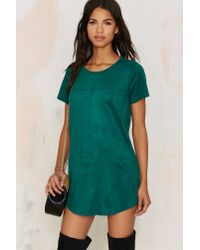 Nasty Gal | This Is The Girl Vegan Suede Tee Dress - Green | Lyst