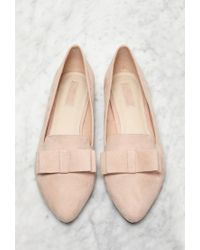 Forever 21 | Natural Faux Suede Bow Flats | Lyst