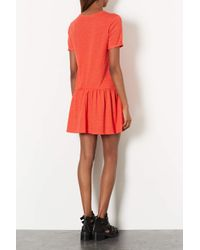 TOPSHOP - Red Drop Waist Tunic - Lyst