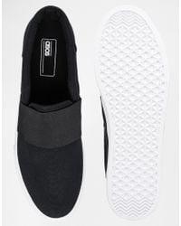 ASOS - Black Slip On Sneakers With Elastic Strap Detail for Men - Lyst