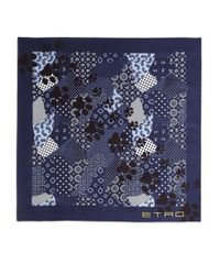 Etro - Blue Paw Print Silk Scarf for Men - Lyst