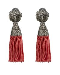 Oscar de la Renta | Pink Short Silk Tassel Earrings | Lyst