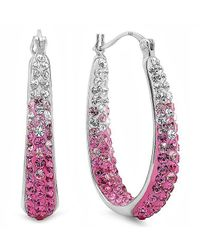 Amanda Rose Collection - Metallic Sterling Silver Pink And White Crystal Hoop Earrings Made With Swarovski Elements - Lyst