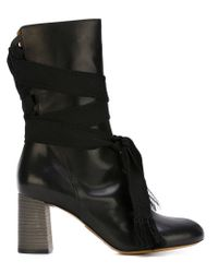 Chloé - Black Lace-Up Boots - Lyst