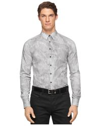 Calvin Klein - Gray Topographic-Print Ultra Slim-Fit Shirt for Men - Lyst