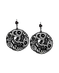 Betsey Johnson | Blacktone Filigree Disc Drop Earrings | Lyst