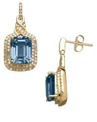 Lord & Taylor | 14k Yellow Gold Blue Topaz And Diamond Earrings | Lyst