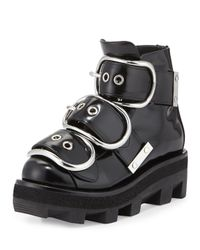 Alexander Wang | Black Sloane Triple-buckled Platform Boot | Lyst