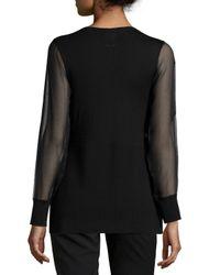 Neiman Marcus - Black Cashmere Sheer-sleeve V-neck Top - Lyst