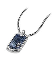 David Yurman | Blue Pavé Tag With Sapphires for Men | Lyst