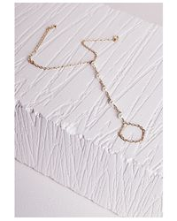 Missguided | Metallic Thin Pearl Detail Hand Chain Gold | Lyst