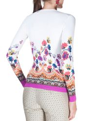 Etro - White Degrade Floral-print V-neck Top - Lyst