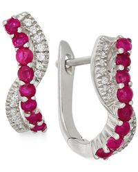 Macy's | Pink Ruby (3/5 Ct. T.w.) And Diamond (1/8 Ct. T.w.) Earrings In 14k White Gold | Lyst