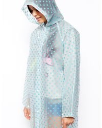 ASOS | Blue Long Line Rain Trench with Spot | Lyst