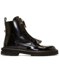 Fendi | Black Leather Selleria Boots for Men | Lyst