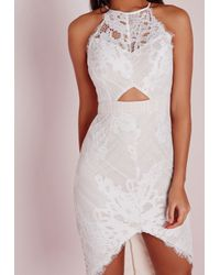 Missguided - Lace Curve Hem Midi Dress White/nude - Lyst