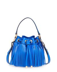 MILLY | Blue 'small Essex' Fringed Leather Bucket Bag | Lyst