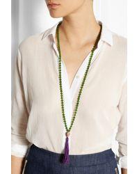 Iam By Ileana Makri - Green Rose Gold-Plated Nephrite Tassel Necklace - Lyst