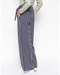 ASOS - Blue Wide Leg Trouser With D-ring In Stripe - Lyst