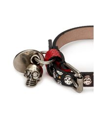 Alexander McQueen | Red Skull Charm Leather Bracelet for Men | Lyst