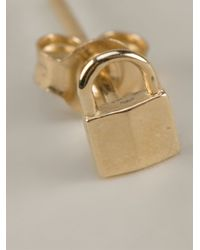 Lauren Klassen | Metallic Tiny Padlock Earrings | Lyst