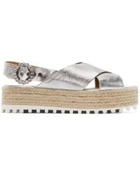 Marc Jacobs | Metallic Silver Leather Beverley Sandals | Lyst