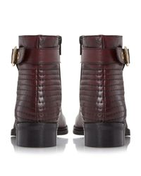 Dune - Purple Padston Stitch Detail Buckle Ankle Boots - Lyst