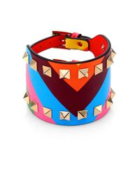 Valentino | Blue Wide Painted Leather Rockstud Bracelet | Lyst