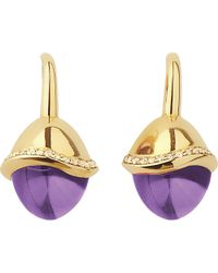 Links of London | Purple Infinite Love Amethyst 18ct Gold Pave Set Diamond Earrings | Lyst