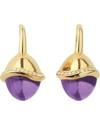 Links of London | Metallic Infinite Love Amethyst 18Ct Gold Pave Set Diamond Earrings - For Women | Lyst