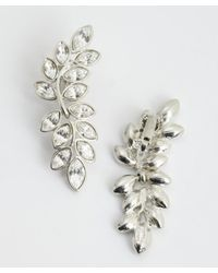 Kenneth Jay Lane | Metallic Silvertone Crystal Vine Earrings | Lyst