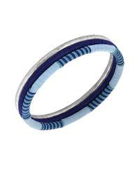 Lucky Brand   Metallic Silver-Tone And Navy Thread Bangle Bracelet   Lyst